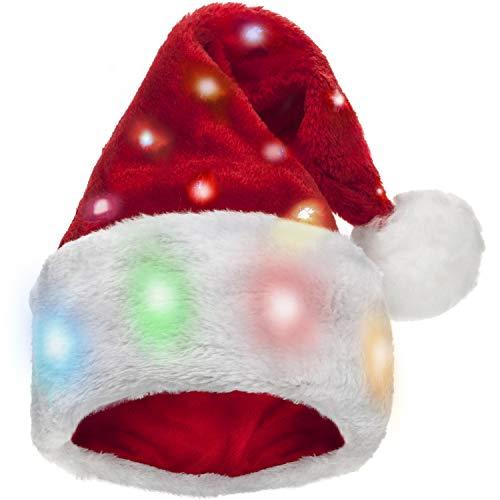e Weihnachtsmütze für Kinder mit 20 blinkenden, blinkenden LED-Leuchten mit Farbwechsel - Weiches Plüsch-Kunstpelz für EIN Kind ()