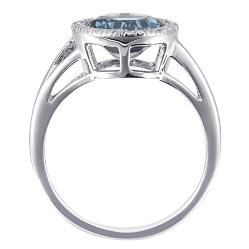 Goldmaid Damen-Ring 9 Karat (375) Weißgold 30 Diamanten 1 Londontopas