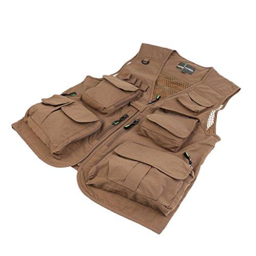 c353c40f2e3d65 MagiDeal Men Outdoor Sportswear Multi-Pocket Anti-Wrinkle Breathable Zip  Closure Fishing Hunting Vest