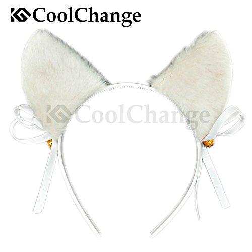 CoolChange Süßes Katzen Set bestehend aus Haarreif mit Katzenohren und Schwanz, Weiß