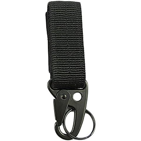 Militar Nailon Llavero Cinturón de tela para colgar, diseño de hebilla de Molle exterior Mosquetón, negro