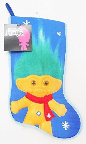 Good Luck Trolls 18 Yellow Troll Green Hair On Blue Christmas Stocking by Good Luck Trolls