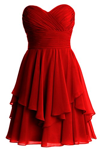 MACloth Women Short Wedding Party Bridesmaid Dress Strapless Tiered Cocktail Burgundy