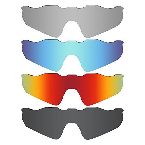 MRY 4Paar Polarisierte Ersatz Gläser für Oakley Radar EV Path Sunglasses-Stealth schwarz/fire rot/Ice blau/Silber Titan