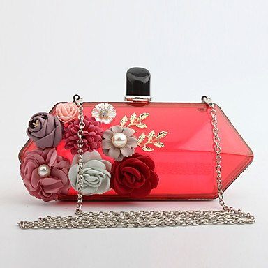pwne L. In West Woman Fashion Luxus High-Grade Blumen Und Transparentem Acryl Abend Tasche Red