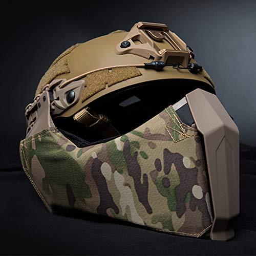 JYNQR Fast Tactical Helm Und Vollgesichts Maske, Amerikanischer Schutzhelm Gesichtsschutz Rüstung System Faltbare Schützt Ohr Airsoft Paintball Gewidmet Camouflage Sturzhelm,Cp
