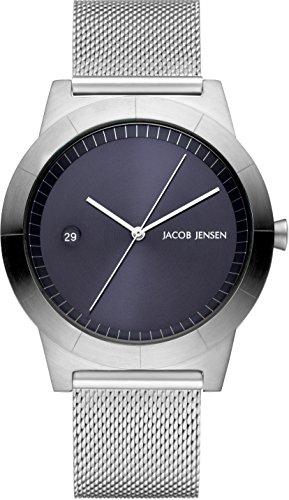 Jacob Jensen Herren Analog Quarz Uhr mit Edelstahl Armband 143