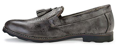 Adreno Slip-On Faux Leder Smart Style Casual Herren Schuhe - Wählen Größe Schwarz