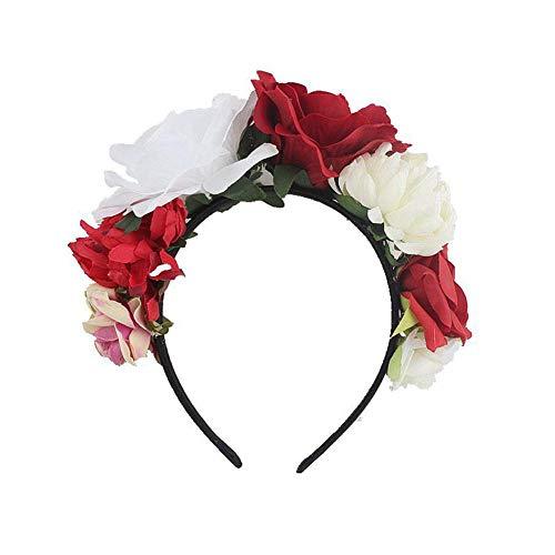 AUTOECHO Blume Krone Stirnband Kostüm Rose Blume Krone Mexikanische Party Dekoration Kopfschmuck Künstliche Frauen Totes Stirnband Garland Kostüm Rose Blume Kranz für Mädchen (Mädchen Halo-kostüme Für)