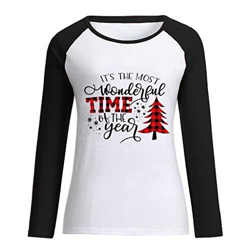 Allegorly Femmes Noël Imprimé Tops Encapuchonné Sweat-Shirt Mode Fermeture éclair Pullover Chemisier T-Shirt Col Rond Chemise Blouse Elégante Tank Tops Pull Chemisier T-Shirt