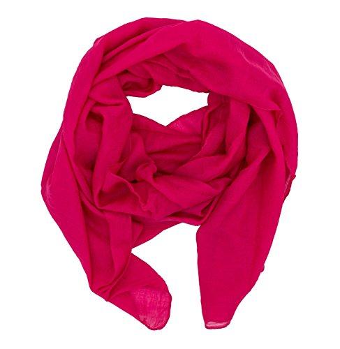 WILD CAT Damen Schal Halstuch Tuch aus Chiffon für Frühling Sommer Ganzjährig (Dunkelpink)
