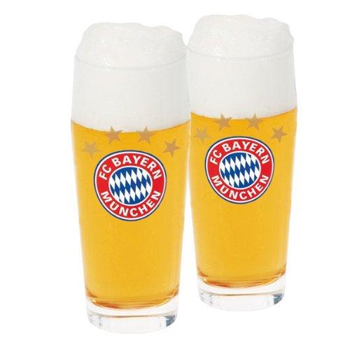 FC Bayern München Lot de 2 verres pour supporter du FC Bayern Format 0,5 l