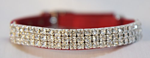 Diamante Cat collar Rhinestone Bling , Safety Elastic and Bell, soft Velvet/Suede (Red)