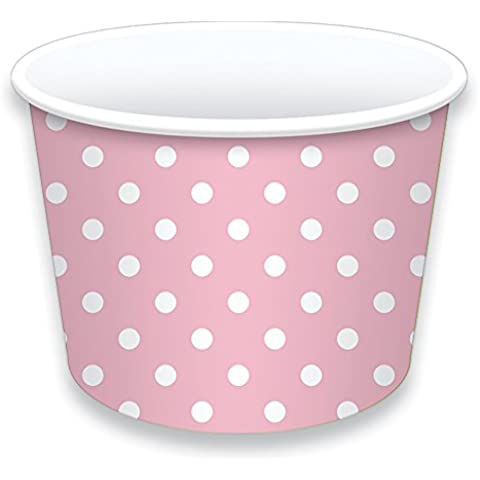 LolliZ Ice Cream Treat tazas 8oz., Rosa/lunares, 12pcs