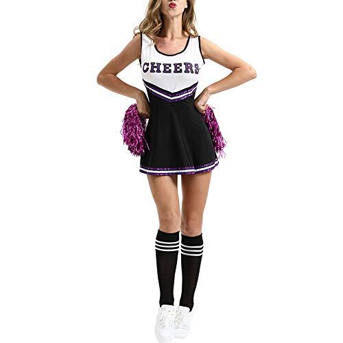 mothcattl Frauen Brief Striped Cheerleader Kostüm Musikalische Uniform Cosplay Kostüm Rosenrot XXL