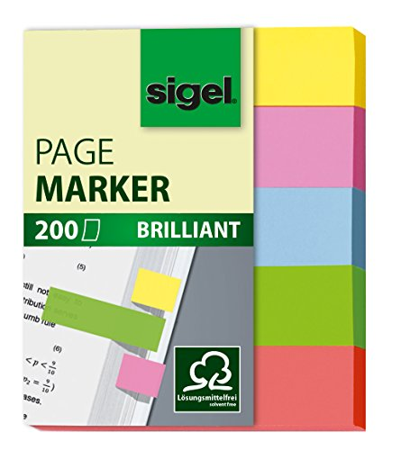 Sigel HN625 Haftmarker, 5 Farben, 200 Mini-Streifen im Format 12 x 50 mm