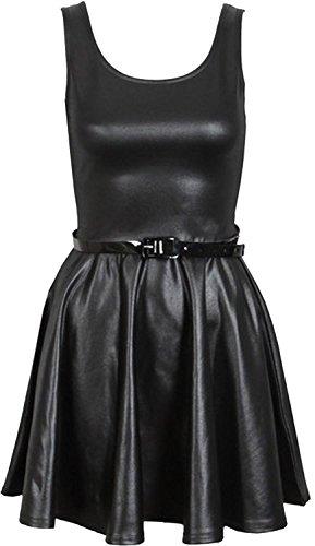 De grande taille noir brillant mouillé péplum skater abgefackelt midirock ci-dessus - Wetlook Skater Dress
