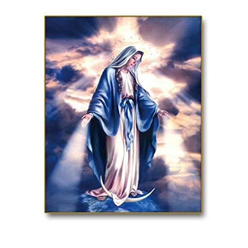 Virgen María decoración lienzo pintura caligrafía pared arte impresión decoración del hogar lienzo pared cuadros para sala iglesia-60x80cm-sin marco