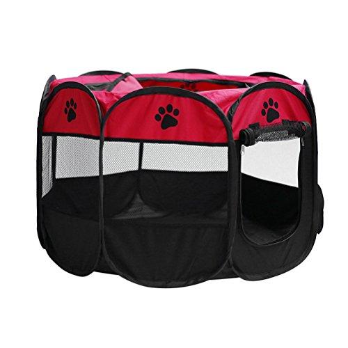 POPETPOP Mascota Parque Infantil Plegable para Cachorro Perro Gato Conejo Conejillo de Indias Pequeños Animales Jaula de Jaula Exterior Interior Fácil Viaje Tienda de la Perrera Tamaño M (Rojo)