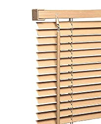 Wood Wooden Grain Effect Window Venetian Blind Blinds Easy Fit Curtains Trimmable Fittings Windows Treatment Shutters Twist Open Close (Natural-Wood Grain Effect, 90cm wide (35.4'') x 150cm)