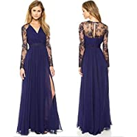 Blue Polyester Special Occasion Dress For Women