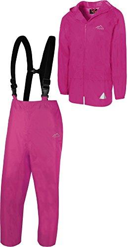 normani Regenanzug Set aus Regenjacke und Hosenträgerhose - 100% wasserdicht, absoluter Wetterschutz Regenbekleidung Farbe Pink Größe M
