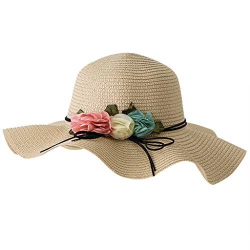 Zylione Sommer-Strohhut Der MäDchenvisierkinder GroßE Gewellte Seite BlüHt Faltbaren Geschenk des Tages des Strandhutes