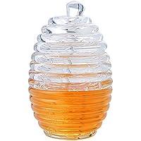 Vvciic Miel Tarro de Miel Transparente Holding tarros Cuchara de Nido de Abeja de Miel Botella Squeeze Tanque de Almacenamiento molletes Companion 265 ML
