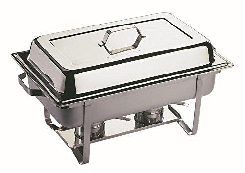 APS Chafing Dish -Economic- ! ca. 61 x 36 cm, Höhe 30 cm GN-Behälter 1/1, 65 mm, 9 Liter Edelstahl 2 Brennpastenbehälter einhängbarer Deckel 9 Liter Chafing Dish