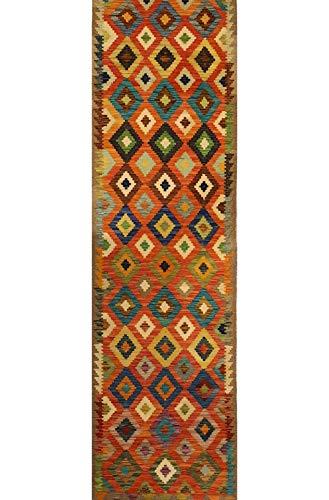 Mollaian passatoia kilim 302 x 81, kilim kaudani, colori sono naturali e vegetali, spessore 3.5 mm e un peso per ogni mq di 1,2 kg, 2 anni garanzia