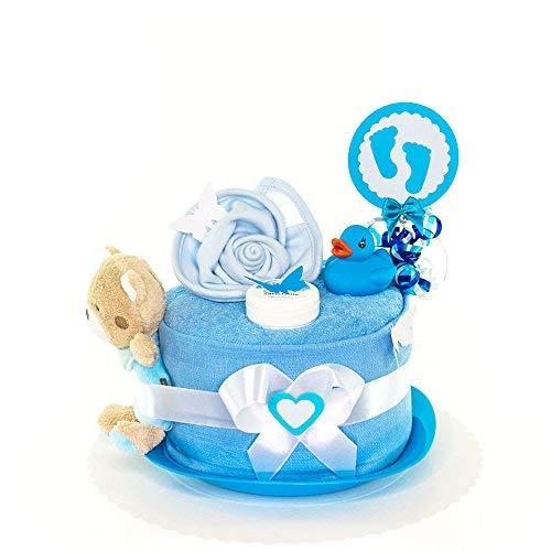 MomsStory - mini Windeltorte Junge | Teddy-Bär | Baby-Geschenk zur Geburt Taufe Babyshower | 1 Stöckig (Blau) mit Spielzeug Lätzchen und mehr