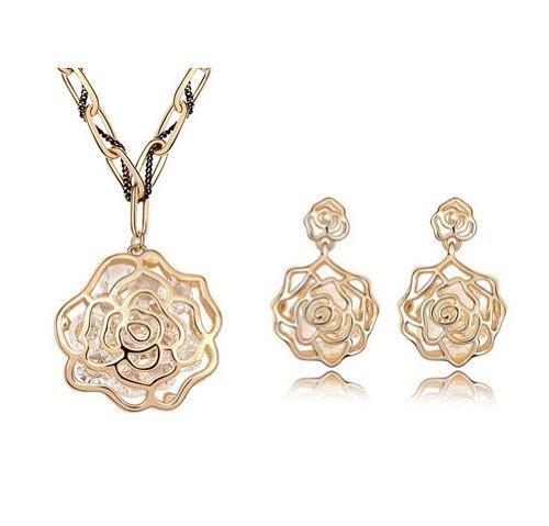 GoSparking cristallo 18K Rosa lega placcata oro rosa Pendente e orecchini set con il cristallo austriaco per le donne