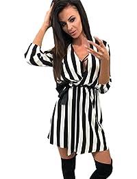Trada Vestiti Casuali dalla Spiaggia Allentata a Strisce Bianca Nera di  Estate del Vestito a Strisce dal a9aab355d7e