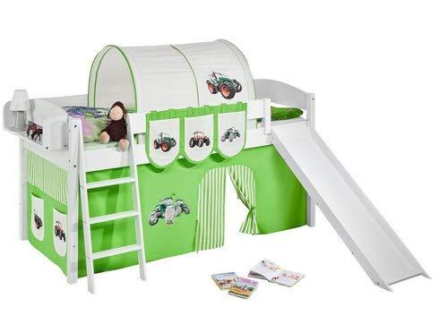 Lilokids Spielbett IDA 4105 Trecker Grün Beige-Teilbares Systemhochbett weiß-mit Rutsche und Vorhang Kinderbett, Holz, 208 x 220 x 113 cm