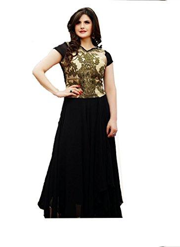 AKS WOMEN'S GEORGETTE SAL-WAR KAMEEZ DRESS MATERIAL BLACK COLOUR VEIGHTLESS