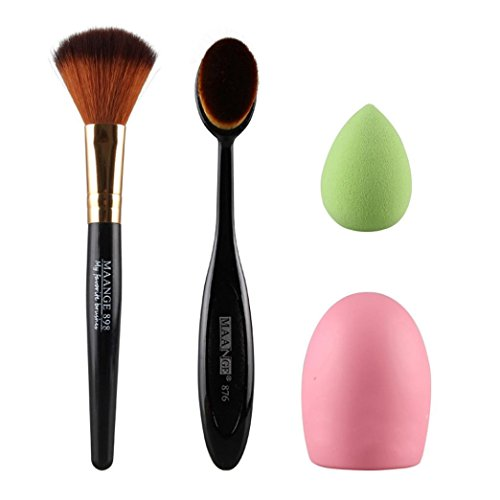 Tonsee 4pcs pinceau de maquillage Maquillage aléatoire éponge pinceau de maquillage Cleaner Foundation Brush Noir