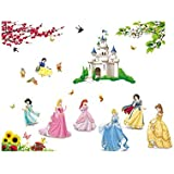 Fairy Season Wall Art Sticker Princess Castle Girls Flower Birds Wall Decal For Living Room Bedroom Kitchen