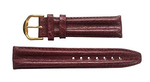 JACQUES LEMANS Uhrenarmband echt Leder 20 mm bordeaux Doppelwulst