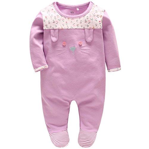 Neugeborene Mädchen Strampler Spielanzug Baumwolle Schlafanzug Overalls Prinzessin Baby-Nachtwäsche, 0-3 Monate (Pyjama Footed Tragen)