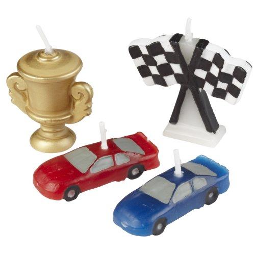 Wilton Brands Lot de 4 bougies Motif course automobile