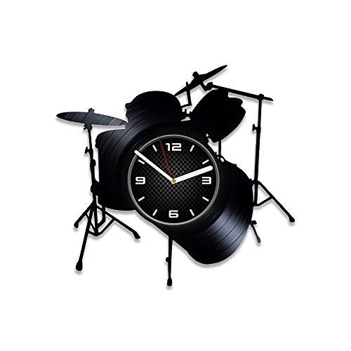 DecorStudioUA Drums Wanduhr Große Musikinstrumente Vinyl Schallplatte Wanduhr LP Uhr Trommeln Geschenk für Mann Trommeln Geschenk Trommeln Rock Clock 30,5 cm Uhr Drums Vinyl Uhr