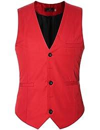 CHENGYANG Homme Mode Gilet Costume Veste Slim Fit Business Mariage Sans Manches Blouson