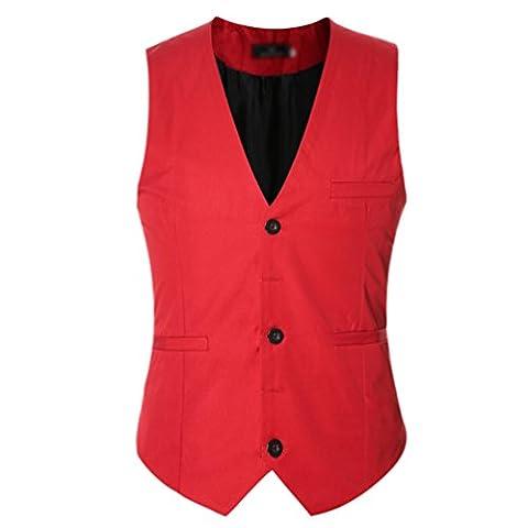 CHENGYANG Homme Mode Gilet Costume Veste Slim Fit Business Mariage Sans Manches Blouson (Rouge, M)