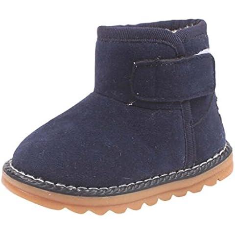 Zapatos de Niños Niños Niñas de piel, Koly botas invierno gruesa de nieve (25_cm, Navy)