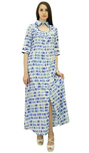 Phagun Sommer Geometrische Druck Baumwolle Kleid Frauen Casual Sundress - Wählen Sie Größe Aus Weiß und Blau