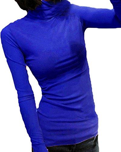 ZANZEA Femme Sexy Manches Longues Hauts Chemise Col Roulé Gauze Tops Mesh Transparent Chemise Bleu