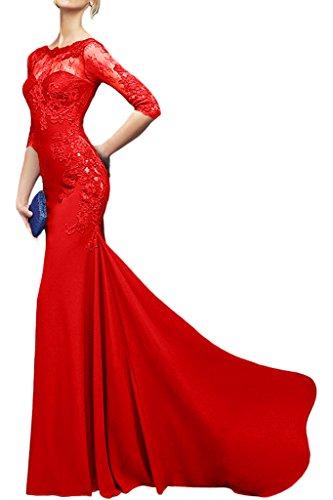 Royaldress Weinrot Chiffon Lang Abendkleider Ballkleider Partykleider Mit Spitze langarm Etuikleider Rot