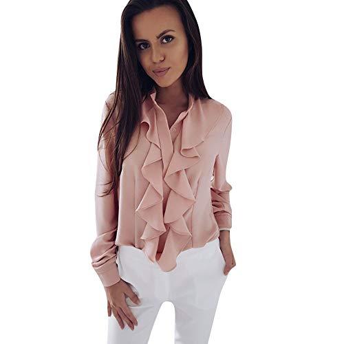 8db134d7a90a1a MOIKA Modische Damenblusen Damen Langarm Bluse mit Rüschen vorne Shirt  Damen Büro Tops Chiffonbluse Lange Tunika
