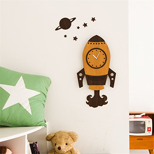 telescope enfant WZ Wall Clock Marron Fusée DIY 3D S Cartoon Creative Horloge murale mute Schlafzimmer Chambre Salon Chambre d'enfant