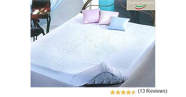 Tata Home Coprimaterasso Kora in Spugna di Cotone Misura 1 Piazza E Mezza con Angoli ed Elastici cm 130x200 Altezza Materasso cm 25 Made in Italy